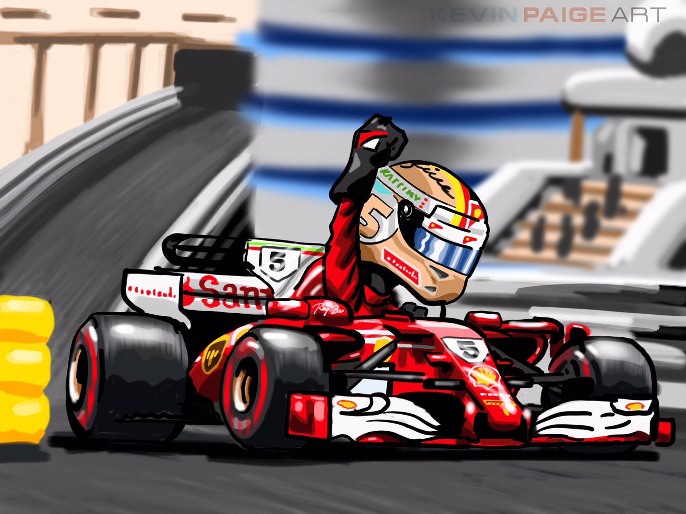 Vettel Monaco 2017 Cartoon