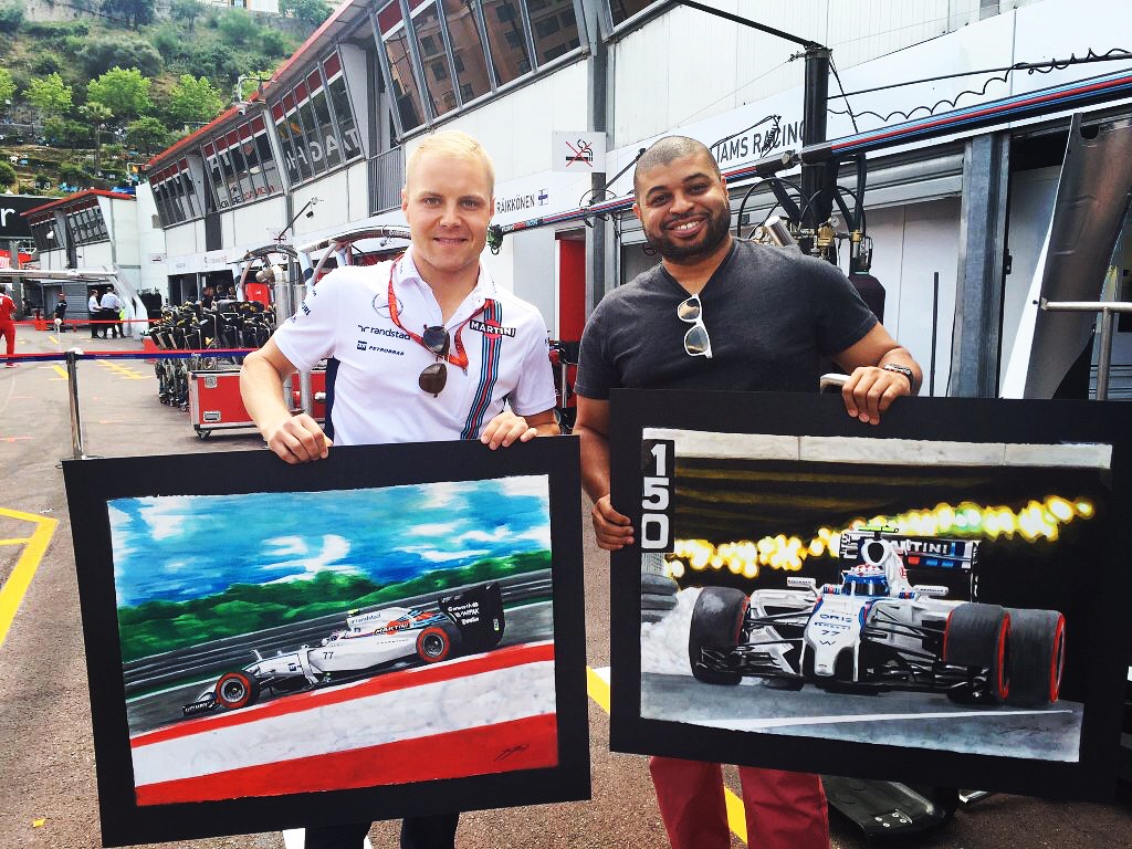 Valtteri Bottas and Kevin in Monaco with his two commissioned pieces