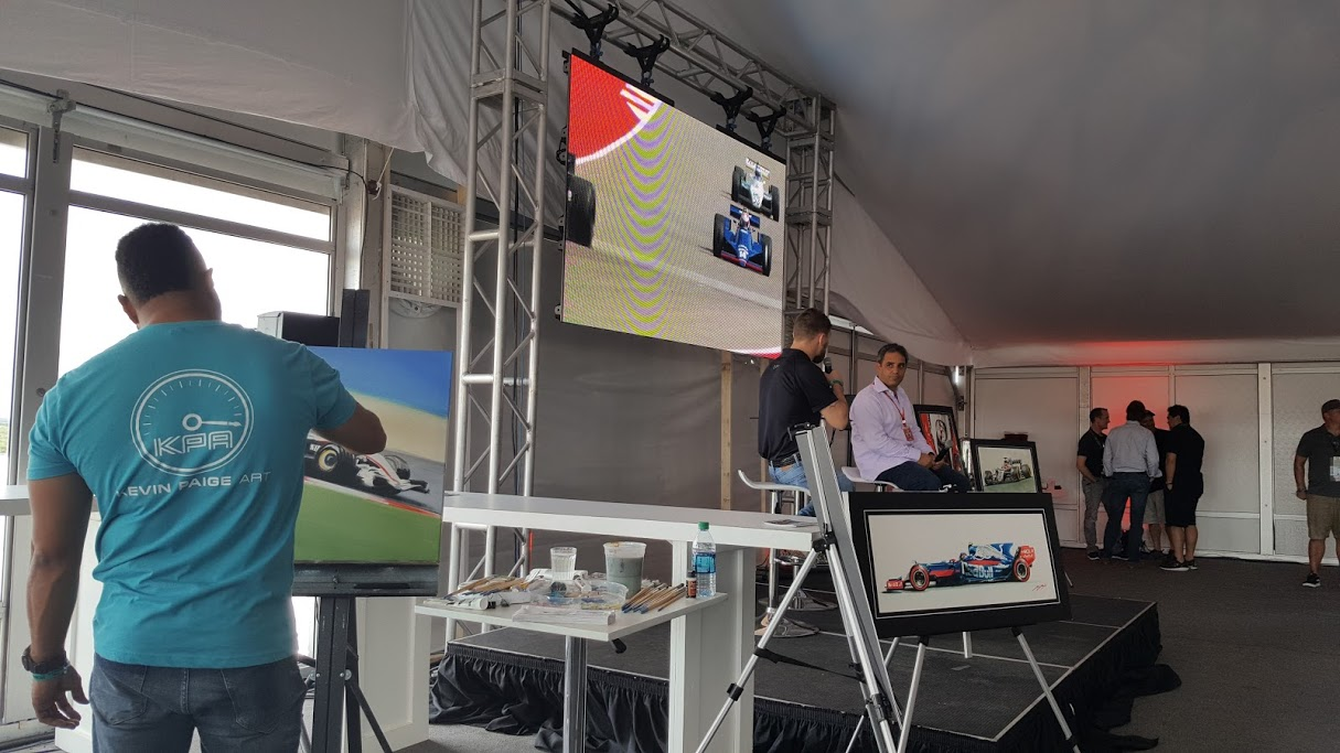 Live painting event - Kevin at the 2017 US GP with Juan Pablo Montoya speaking live.