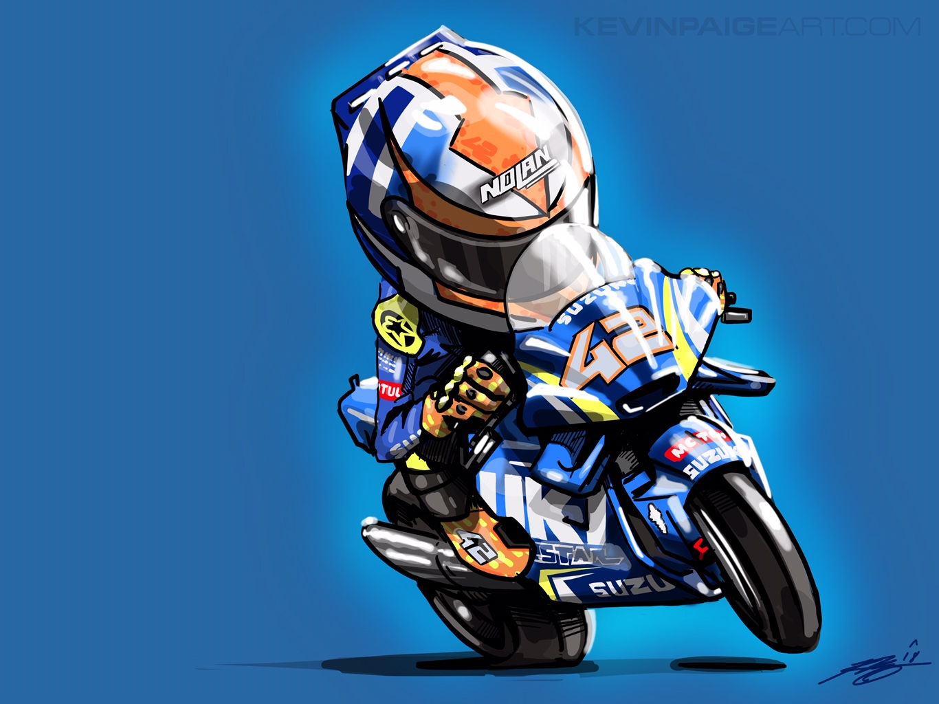 Alex Rins Digital Cartoon