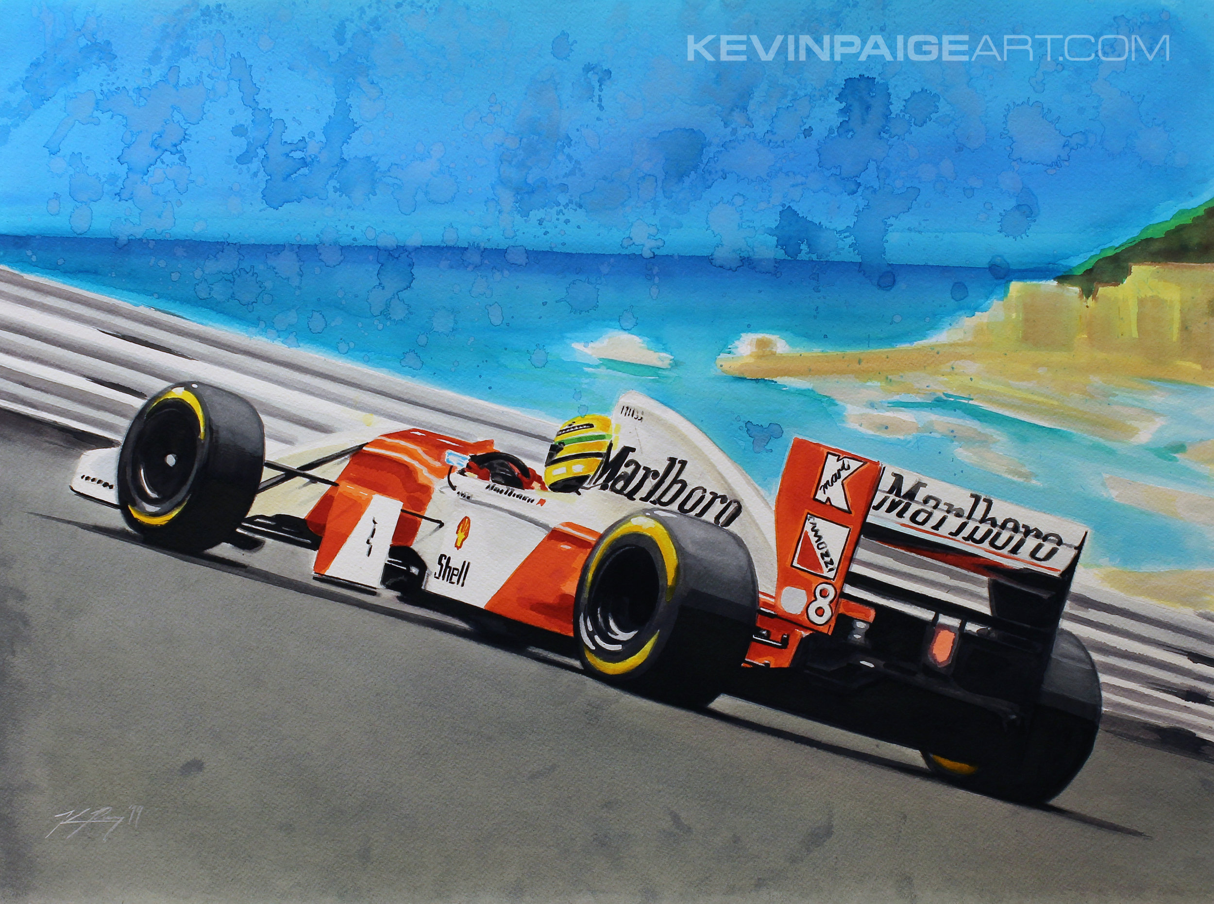 "22""x30"" Watercolor 2019 Aryton Senna McLaren F1 Sold"