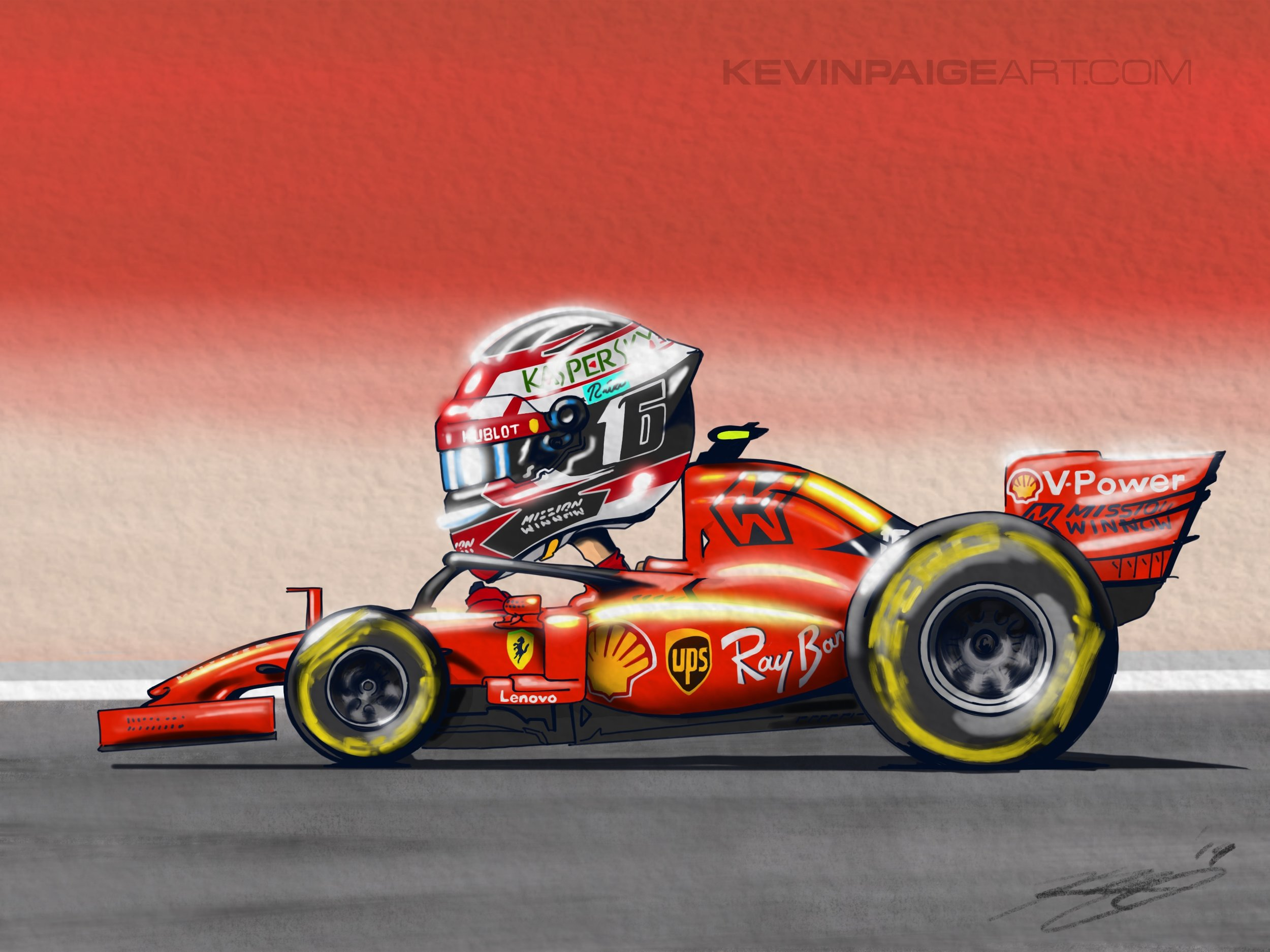 Charles Leclerc Digital Cartoon
