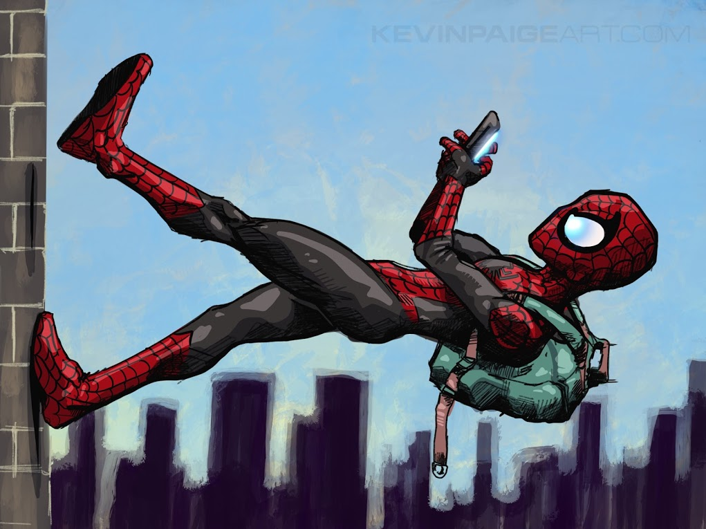 SpiderMan up the wall drawing.JPG