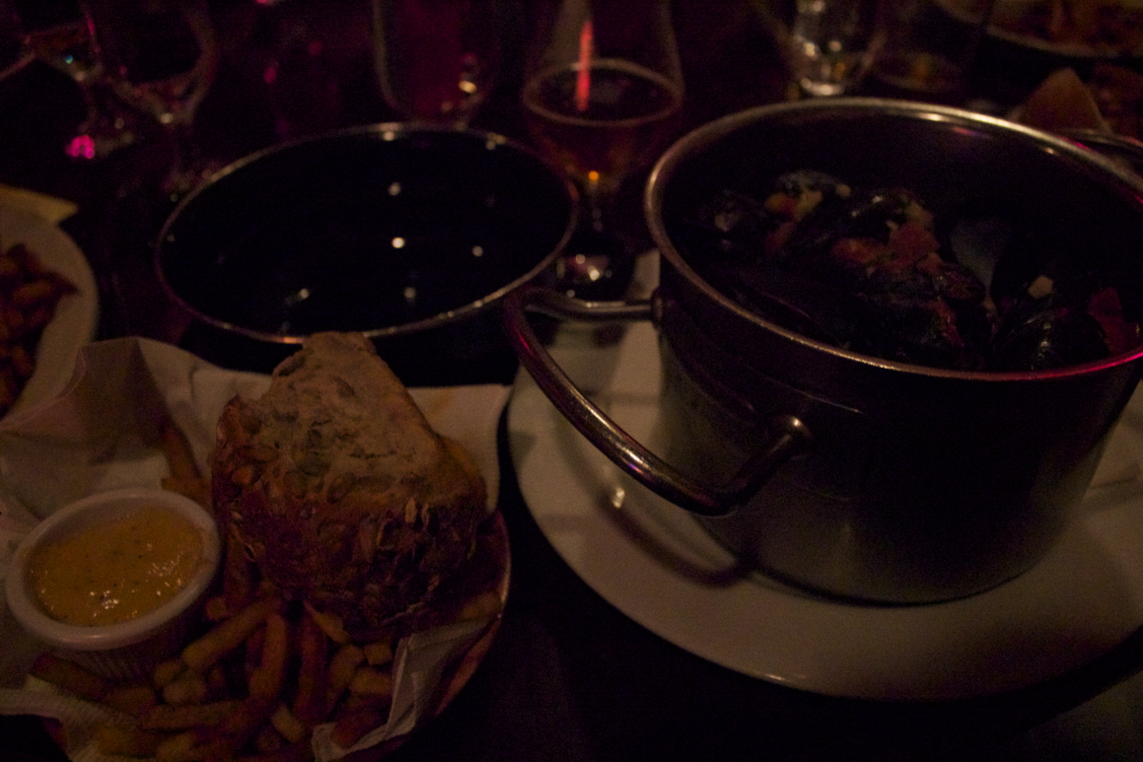 Mussels and fries at Monk's Cafe on our last night in Philly.