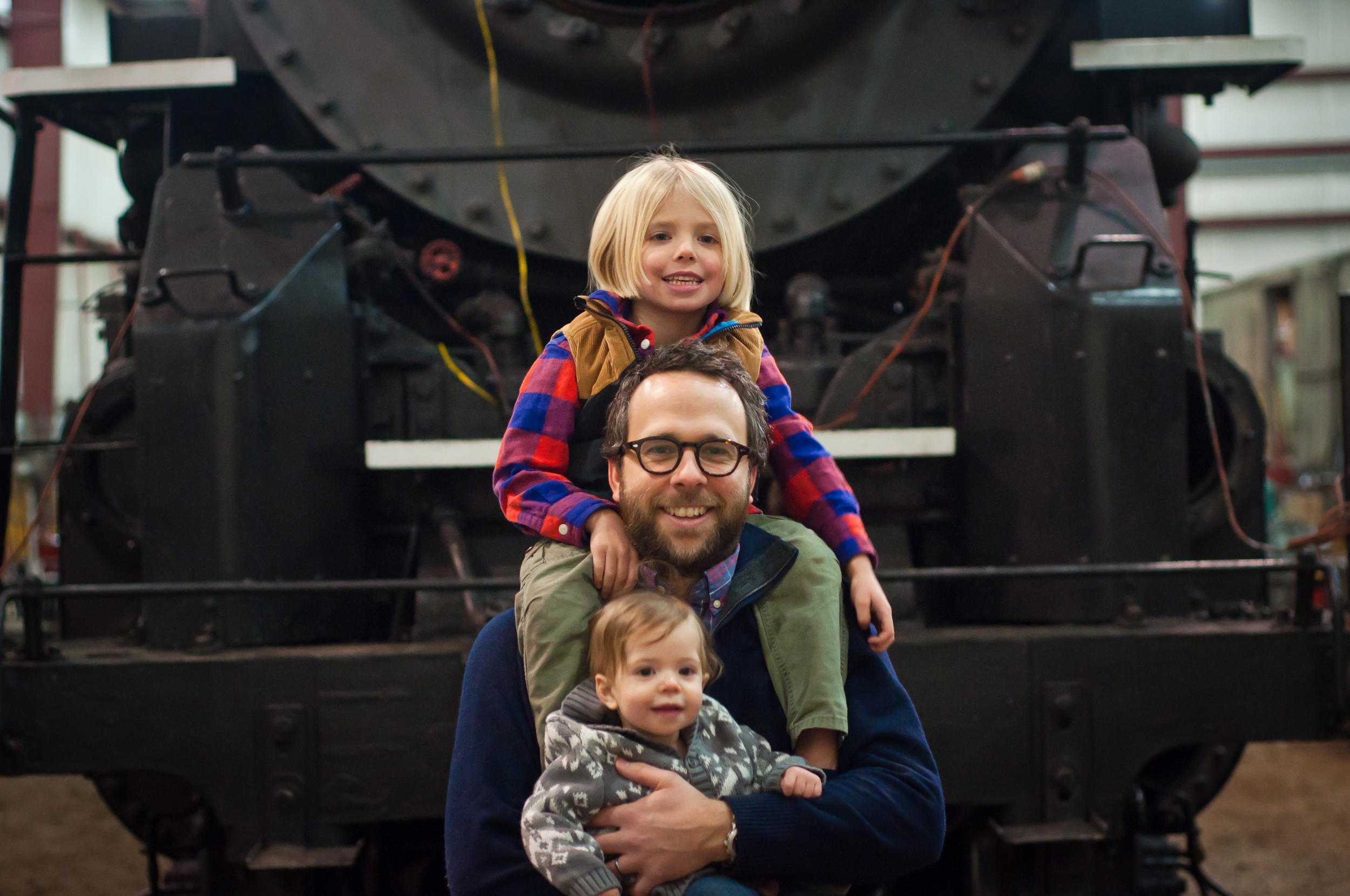 My three Fox Boys in front of steam locomotive No. 765