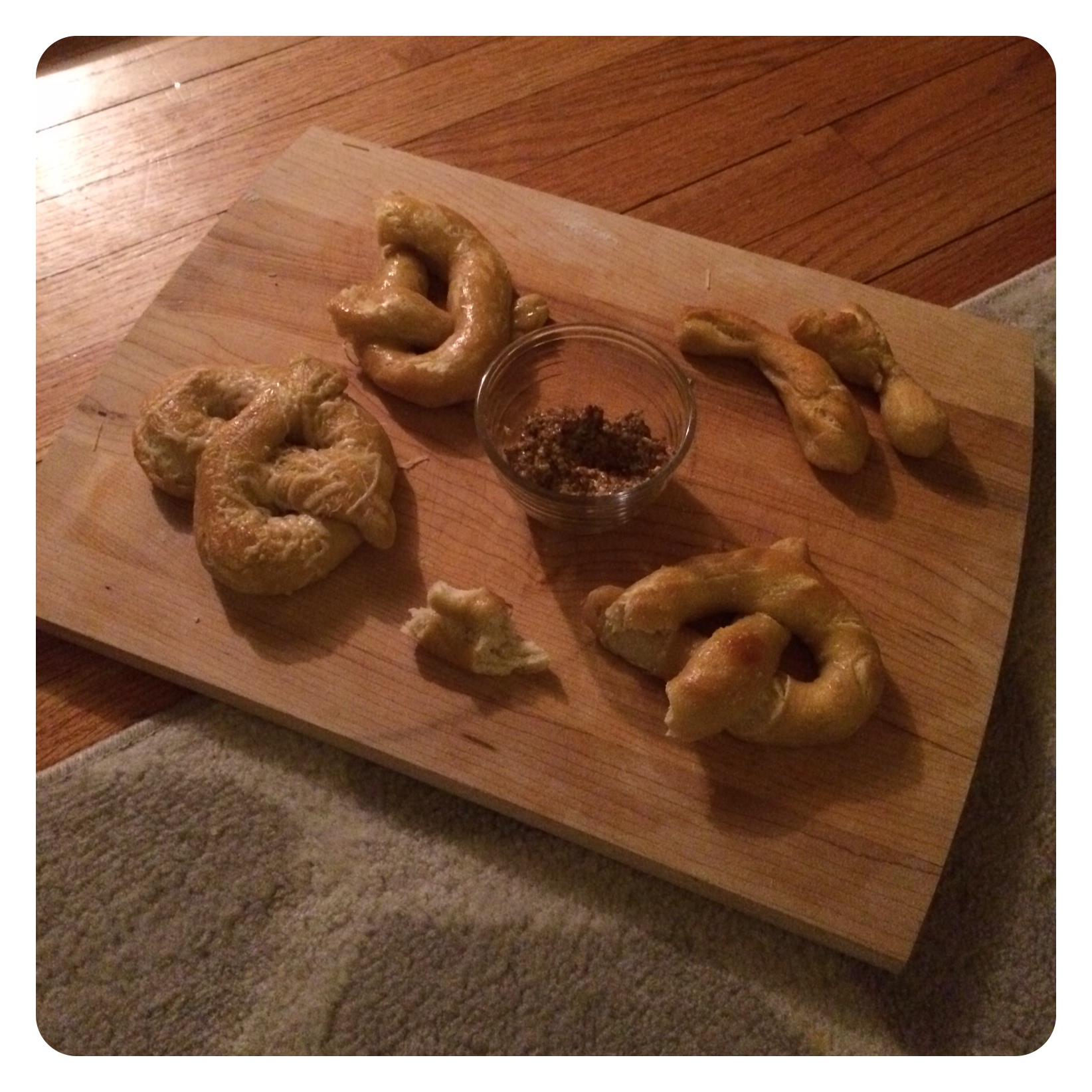 Homemade pretzels with grainy mustard. Yum!