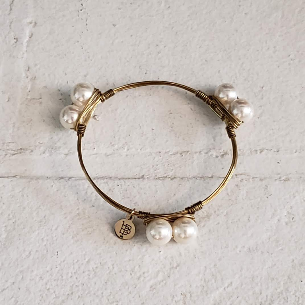 bourbon and bowties pearl bangle $5