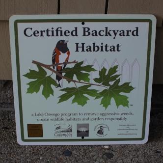 certified backyard habitat sign