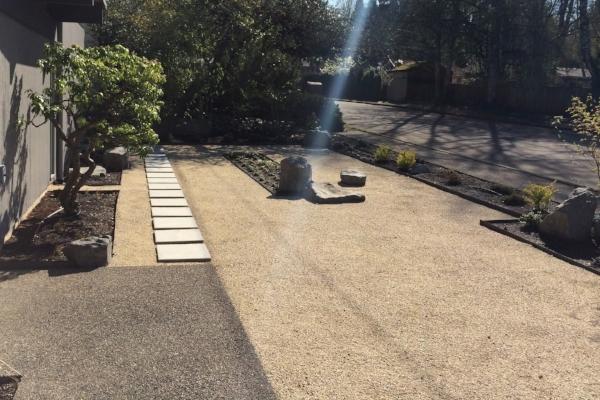 A low maintenance modern front yard.
