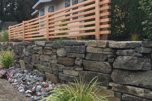 basalt stone retaining wall