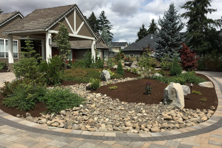 A dry creek, a rain garden, and rock garden all in one.