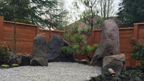 boulders set up in Japanese garden