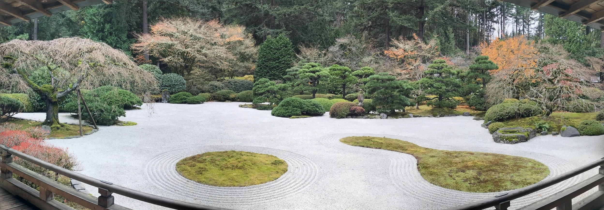 """Panoramic image of the    """"Flat Garden""""    at Portland's Japanese Garden."""