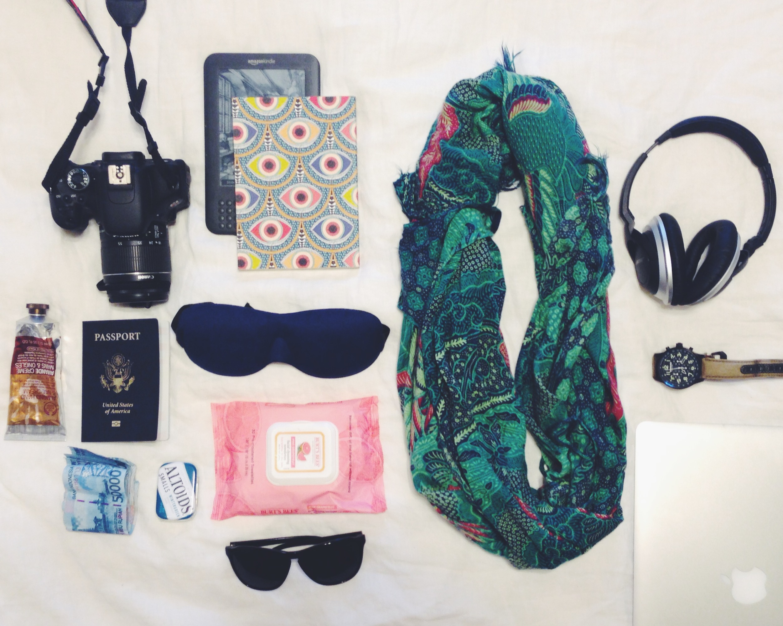 In my carry on. Not pictured: a pair of panties to change into later, my iphone, chargers, water and peanut mm's.