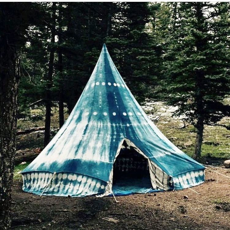 Amazing indigo dyed tent (this is not mine, I have a tent from Target). Source unknown.