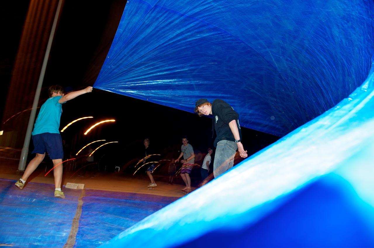 tarpaulin surf sliding