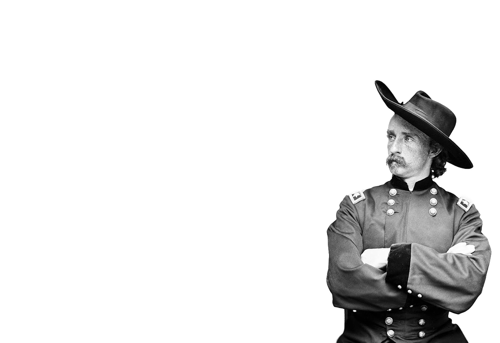 Il GeneraleGeorge Armstrong Custer come appare sull'invito alla mostra.