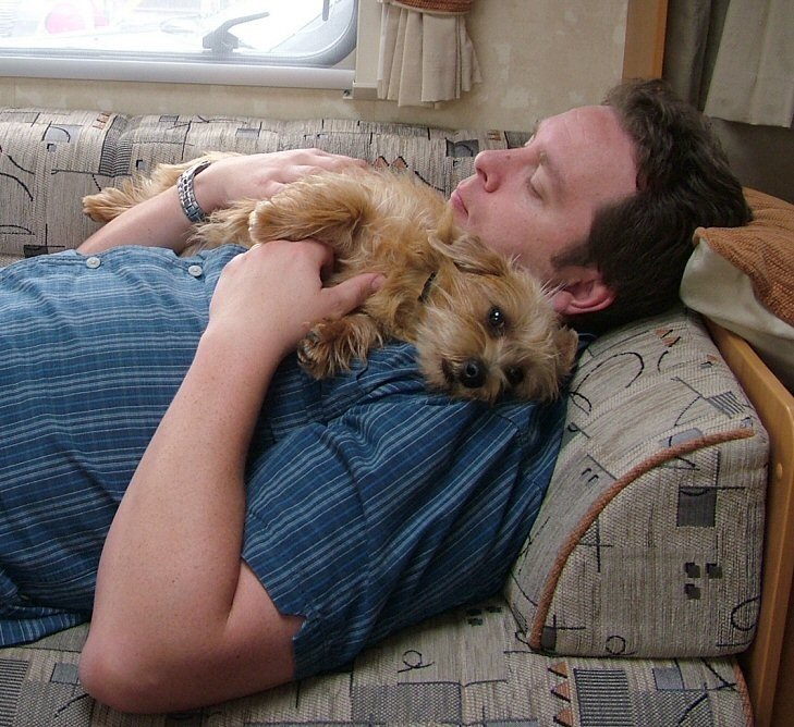 Neil and Donut in the caravan