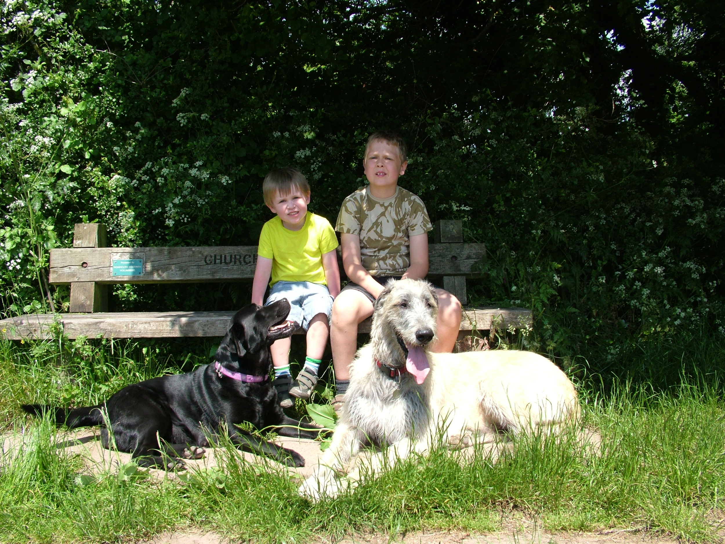 Sam and Ben taking a rest on a walk with Ellie and Wilma