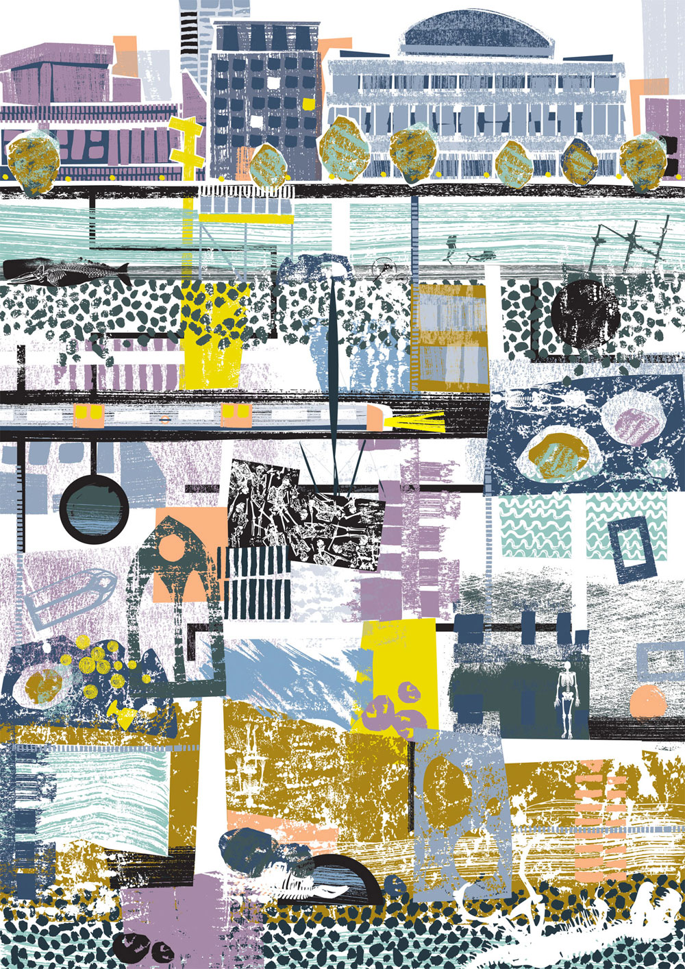 Shortlisted entry for the  AOI 's prize for illustration 2015. Beneath for Places and Spaces exhibition.