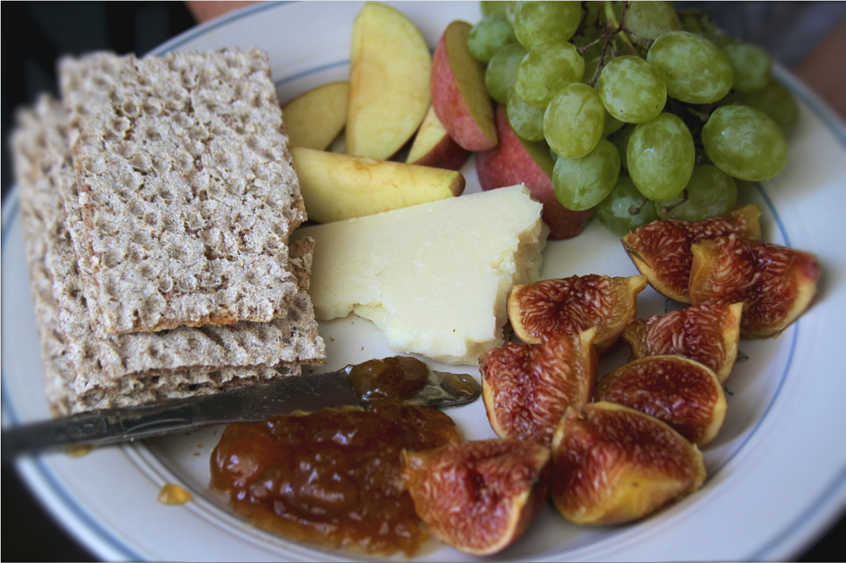 Fruit, cheese and crackers.