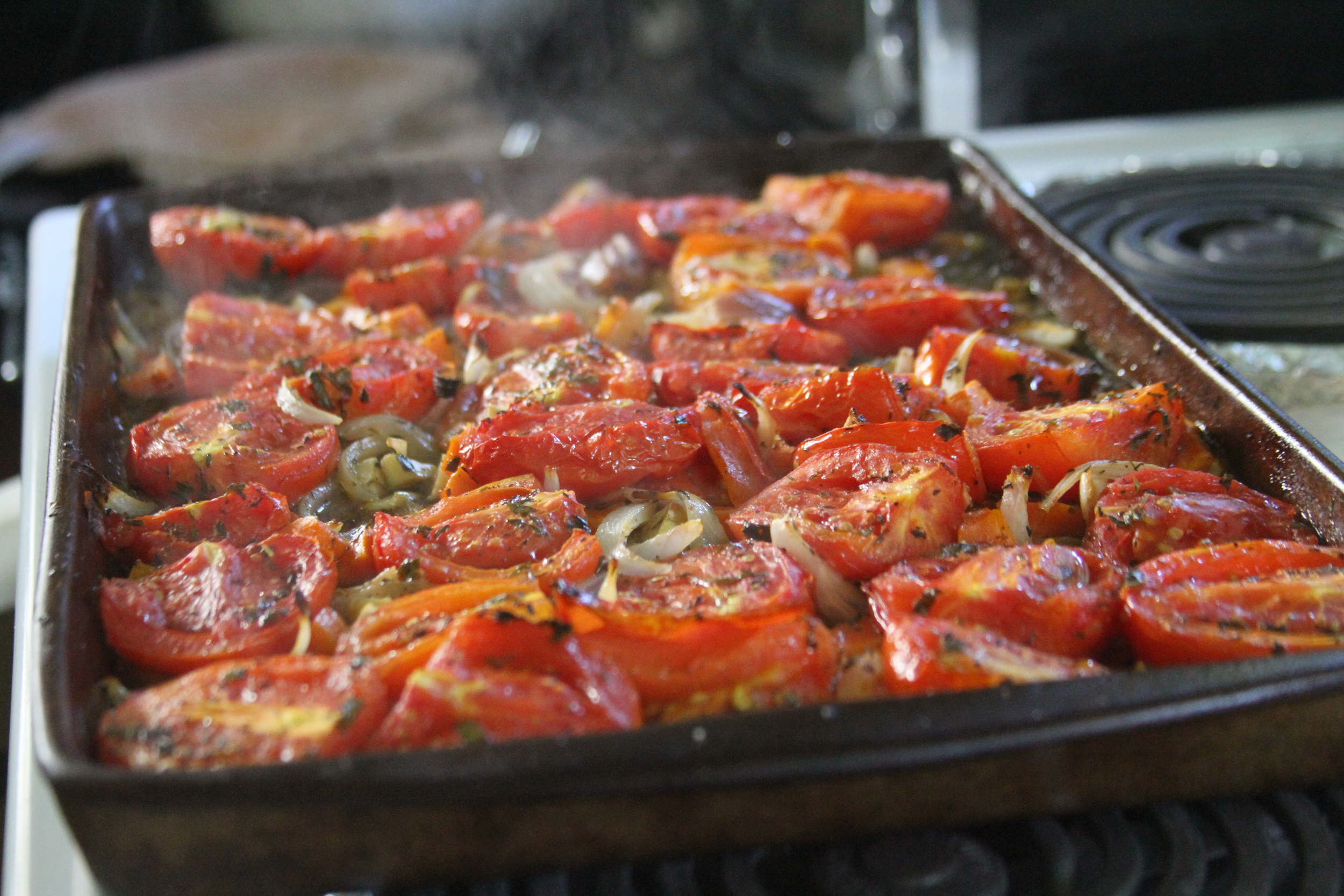 Roasted tomatoes, onions and garlic.