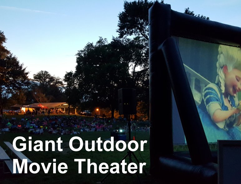 Movie, Sound and a GIANT inflatable screen!! Add to it an hour of fun music leading up to the movie and you have the makings of awesome event. We can even provide popcorn and cotton candy too! ;)  Learn More...