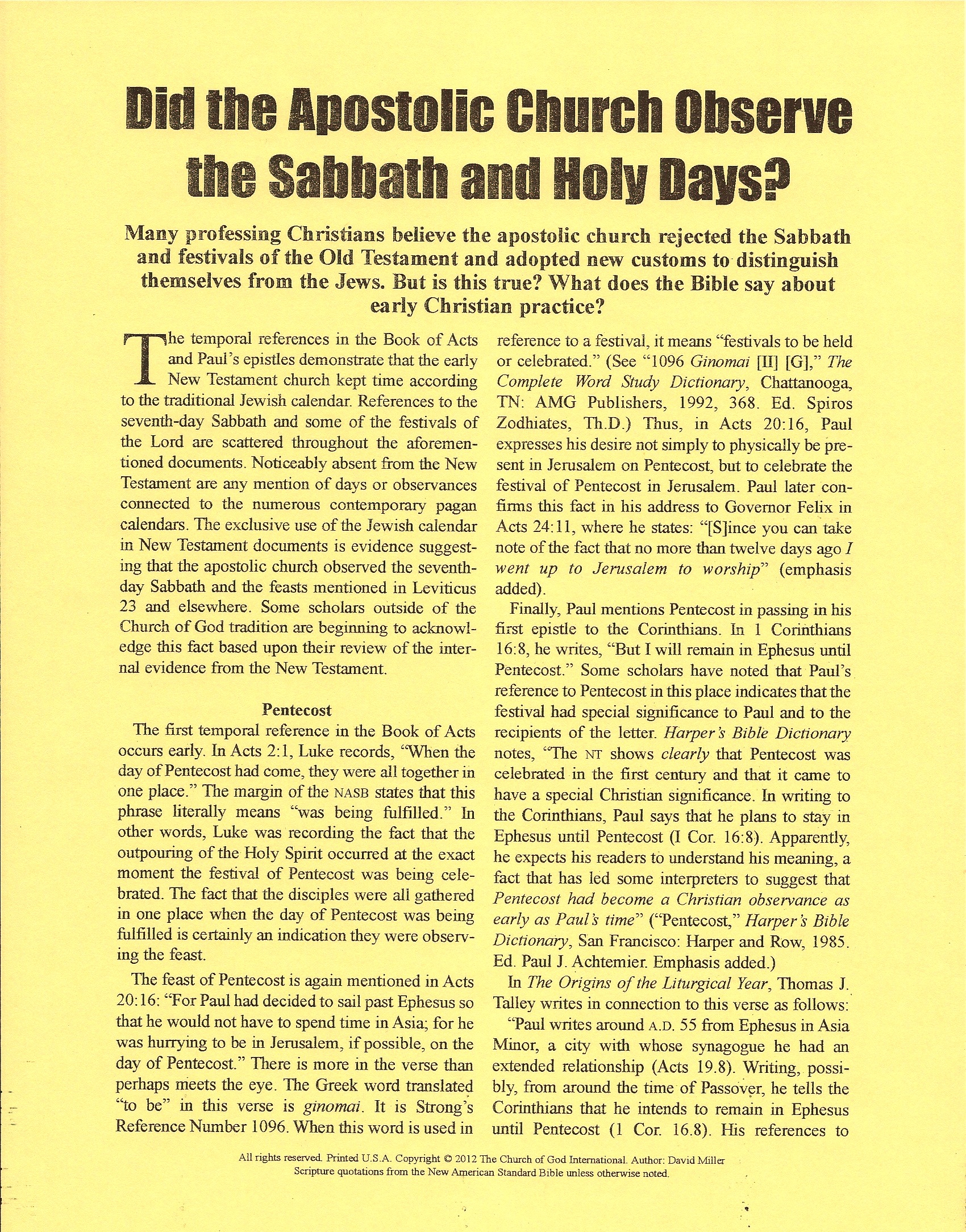 The Sabbath — The Church of God International