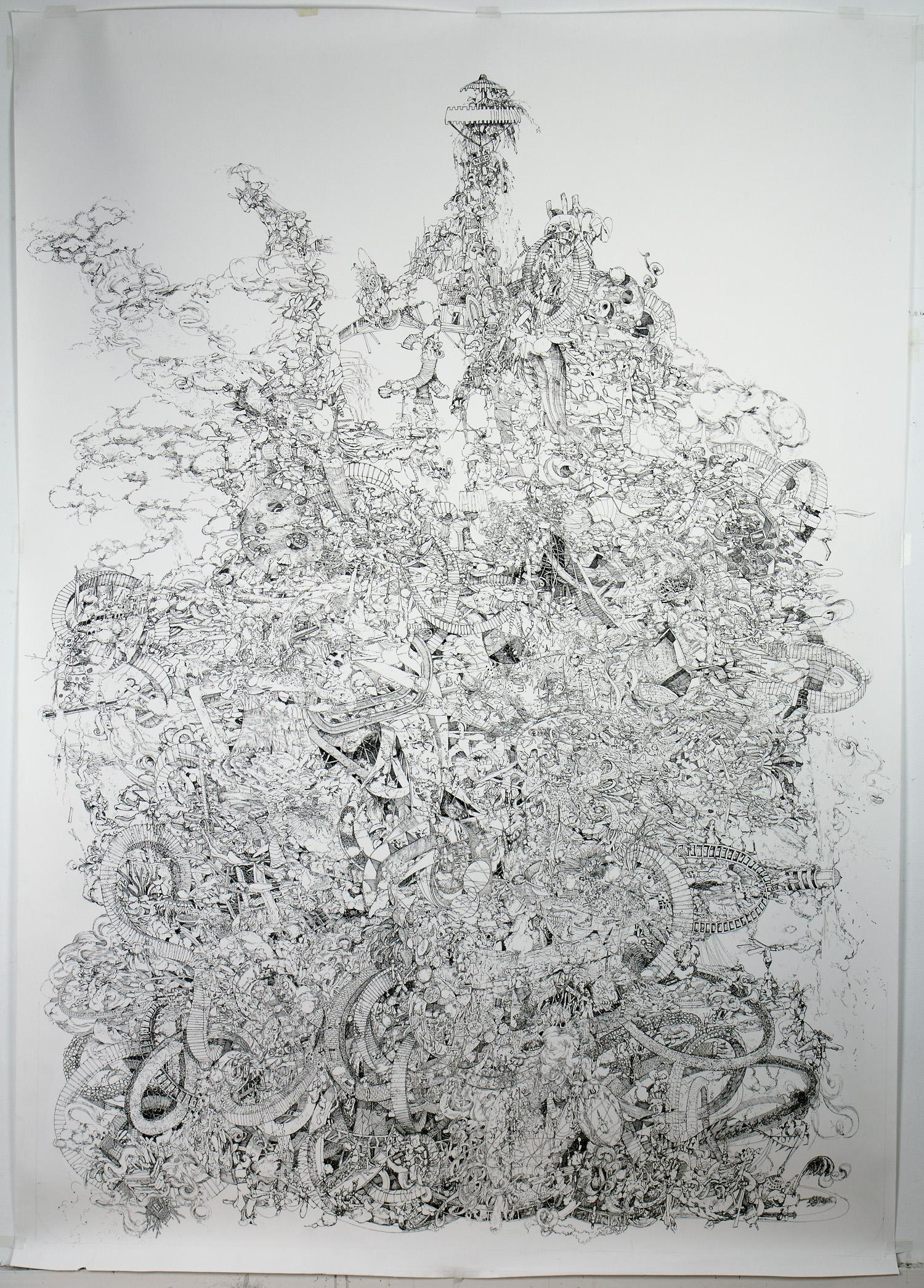Djen-uh-rey-ter (Plenum VII)   Pen and ink on paper • 4' x 6'