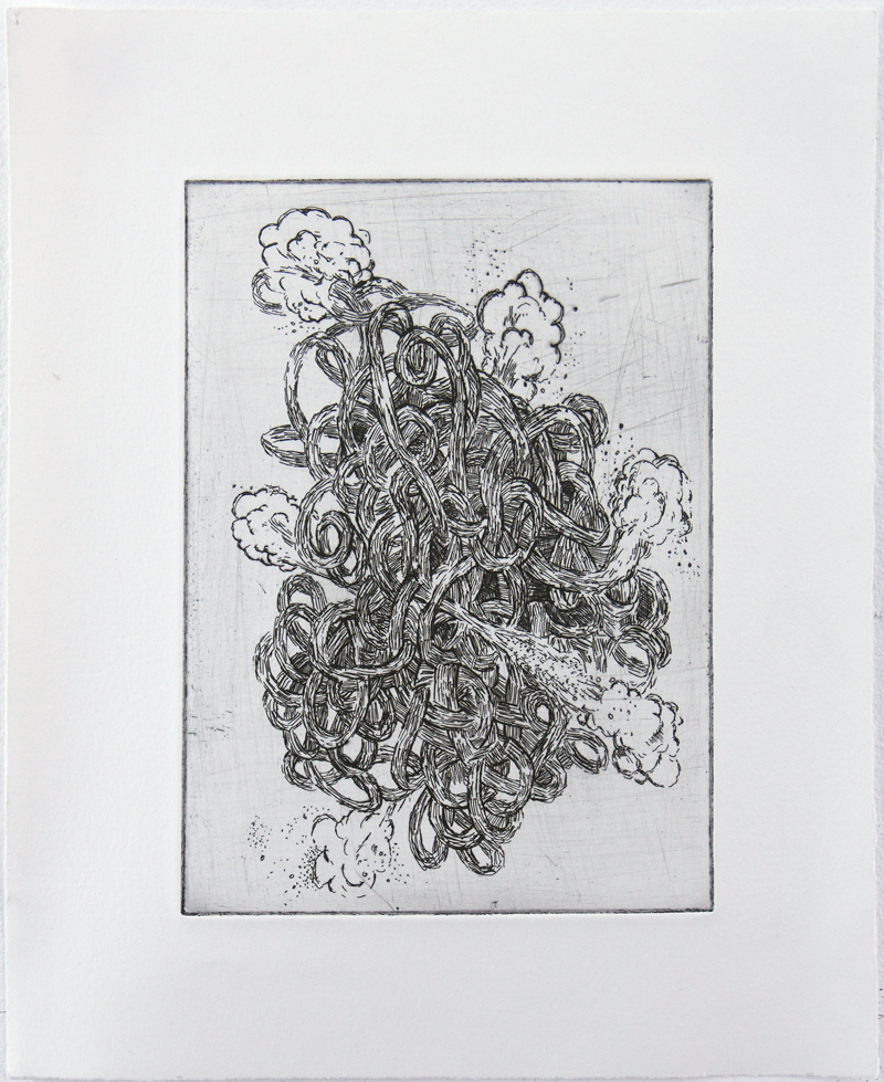 Combustion Hard ground etching on copper • 26cm x 34cm • 2005 Click image to enlarge