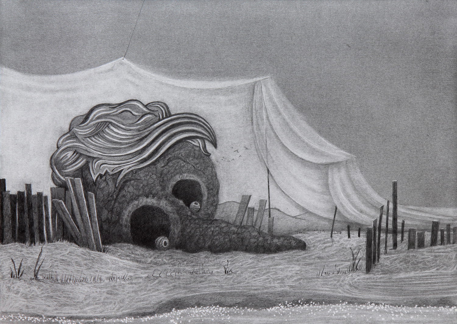 PHONEY BALMY BEACH DREAMS . pencil, graphite powder and silver leaf on paper . 297 x 420 mm