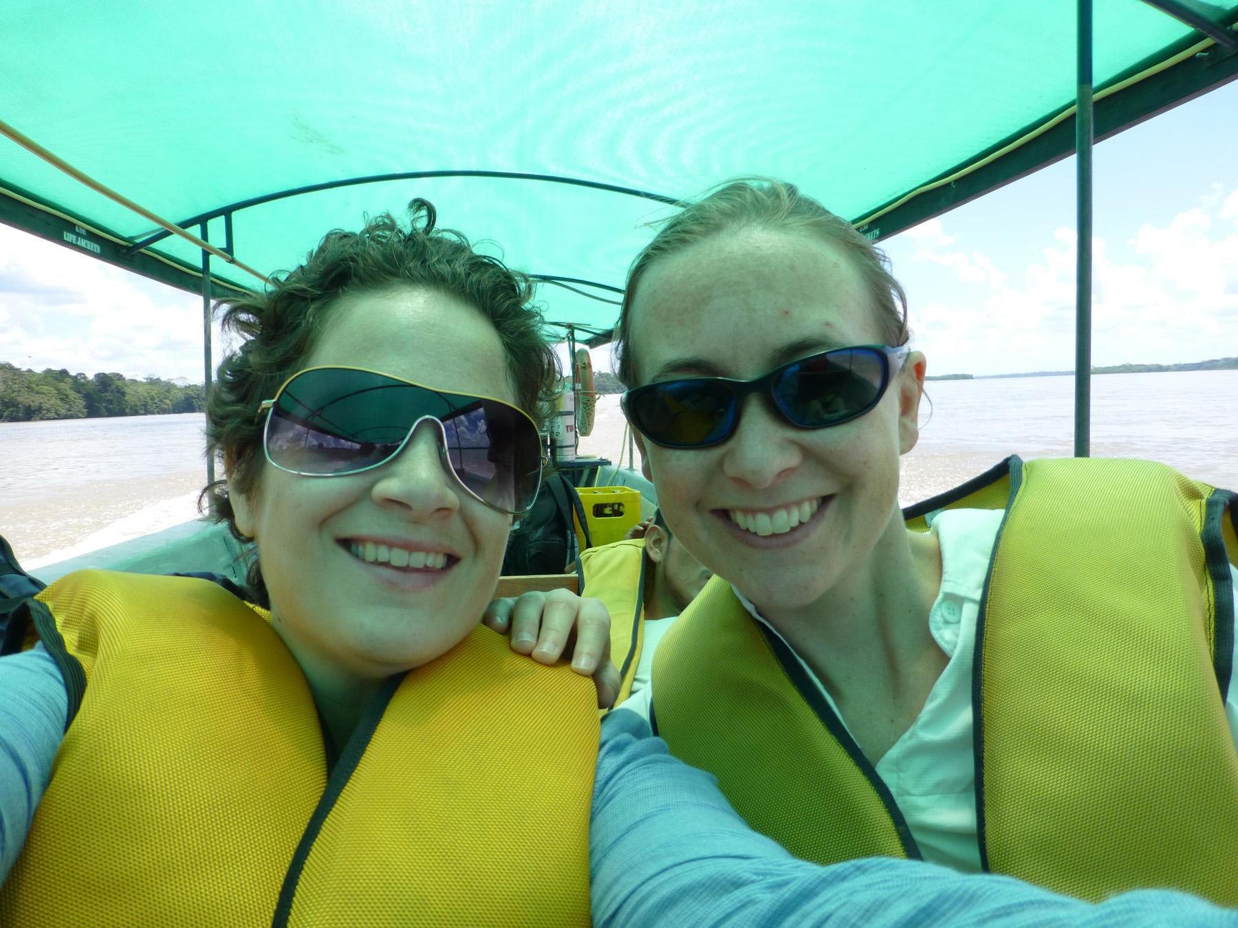 Us, riding the Napo River to Sacha Lodge.