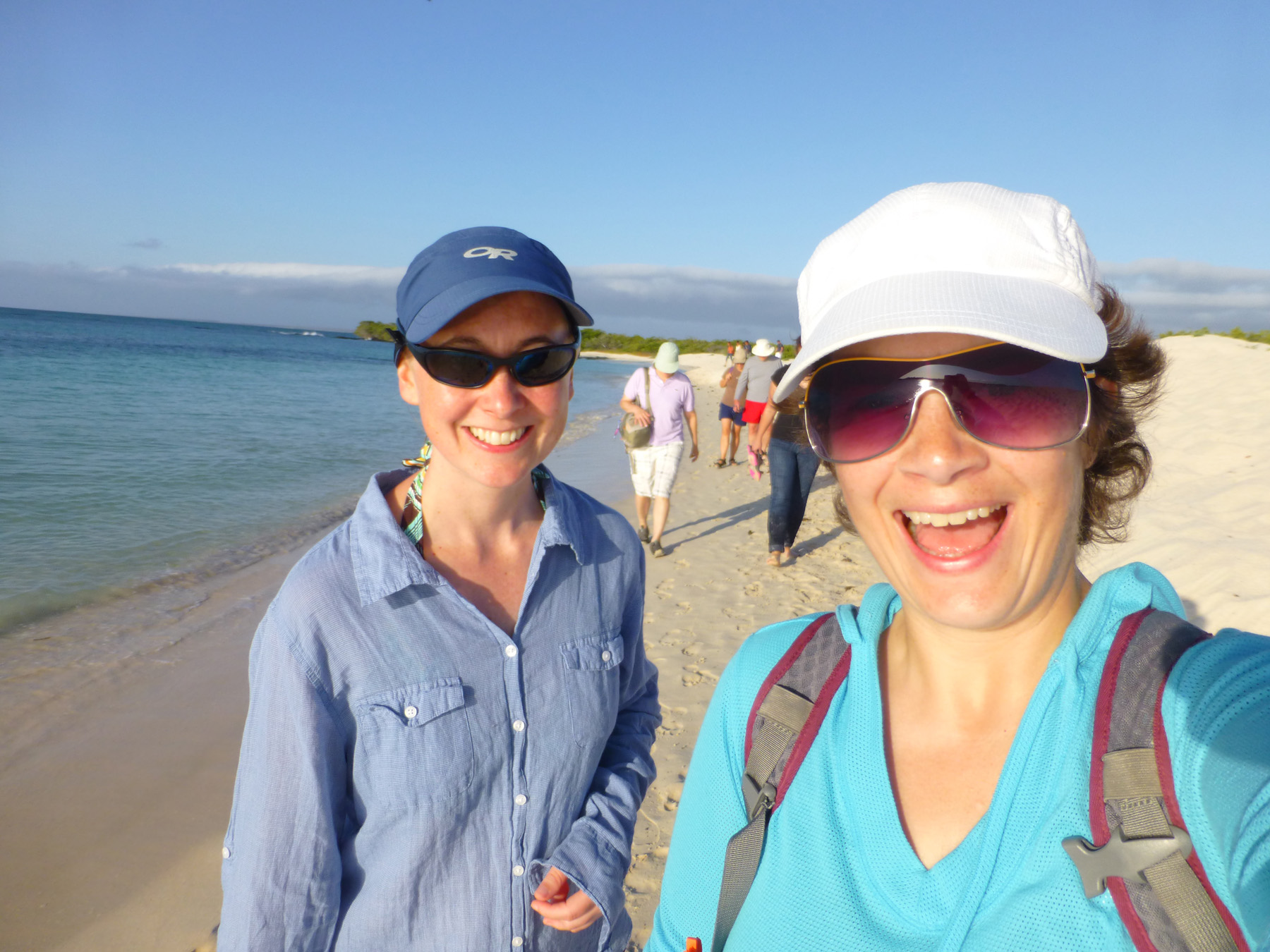 Katie and me enjoying our first exploration of the Galapagos islands.