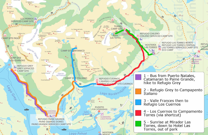 Map of the W Trek