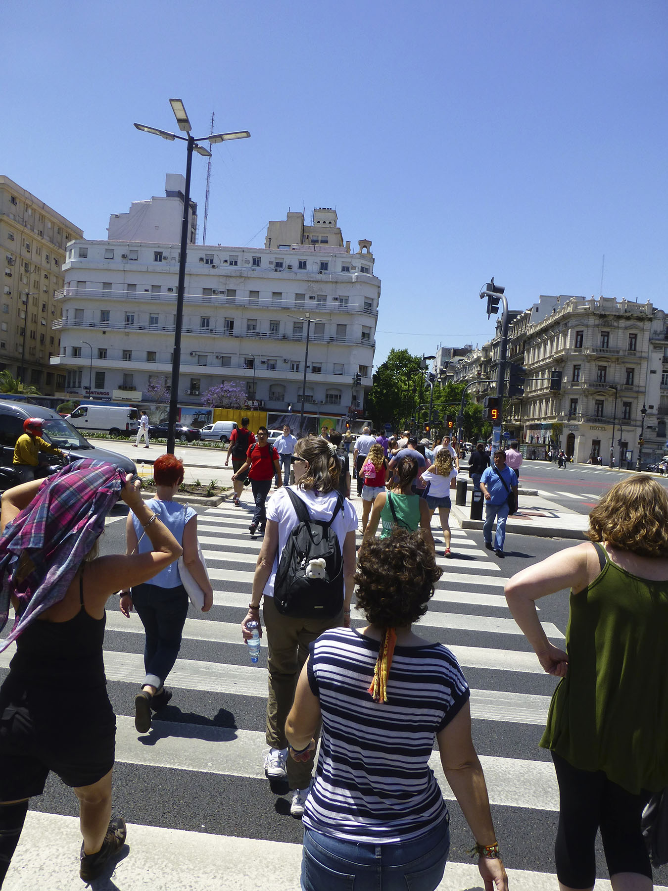 Crossing The 9 de Julio Avenue - The Widest Street In The World