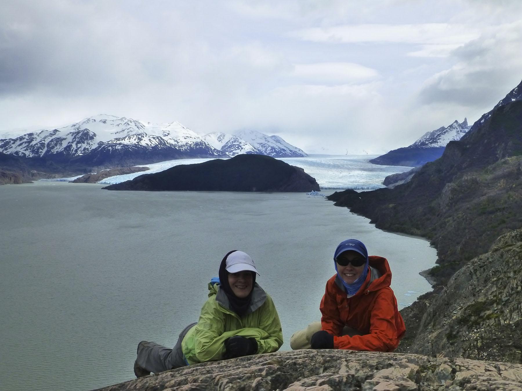 Looking down on Lago Grey and Glacier Grey.