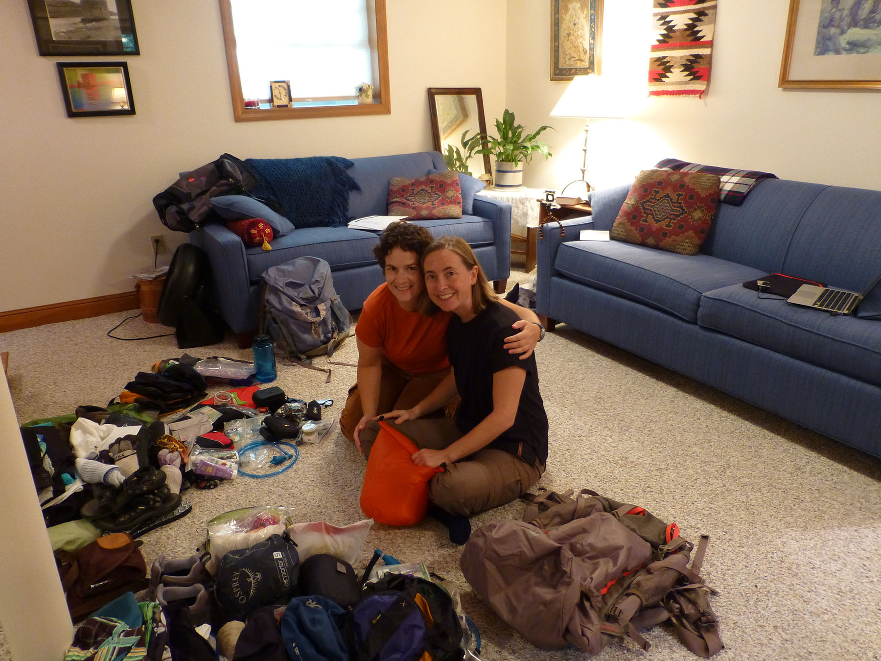 Here we are, packing for the first time. I hope we improve our speed as we travel!