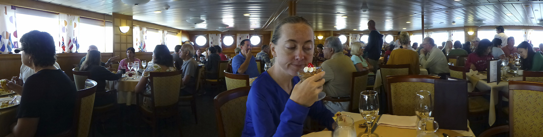 I put this picture into the blog against my better judgement. Katie thinks it's hilarious. I was making a face at the chocolate mousse, wondering how many calories I'm taking in every moment I sit in this dining room.