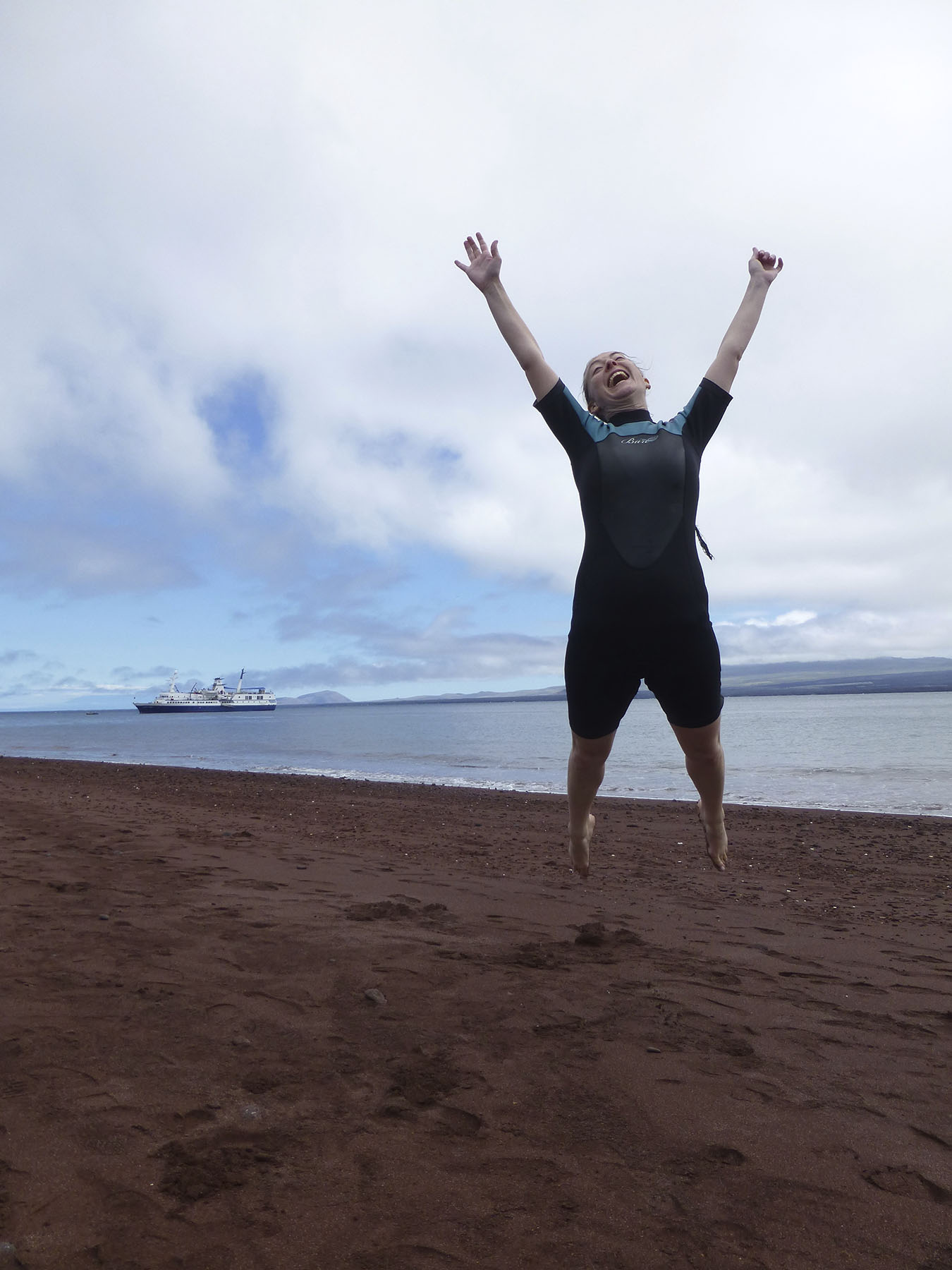 Jumping For Joy To Be On Dry Land!