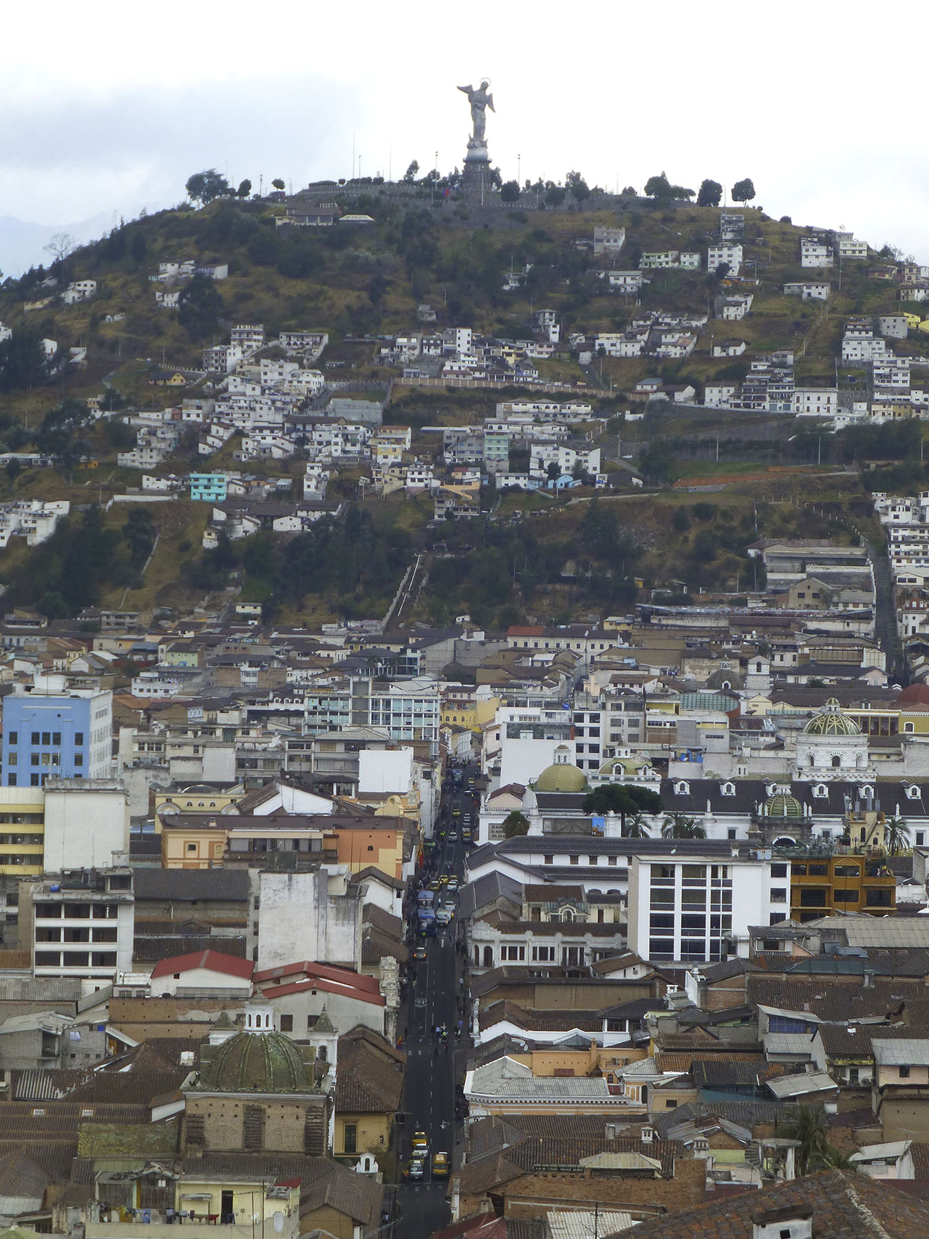 High on the hill top you can see the Virgen de Quito. You can view her from practically anywhere in the southern end of the city. Warning: Take a taxi if you want to go visit her. Even local police say you can get robbed if you walk up or down the hill!