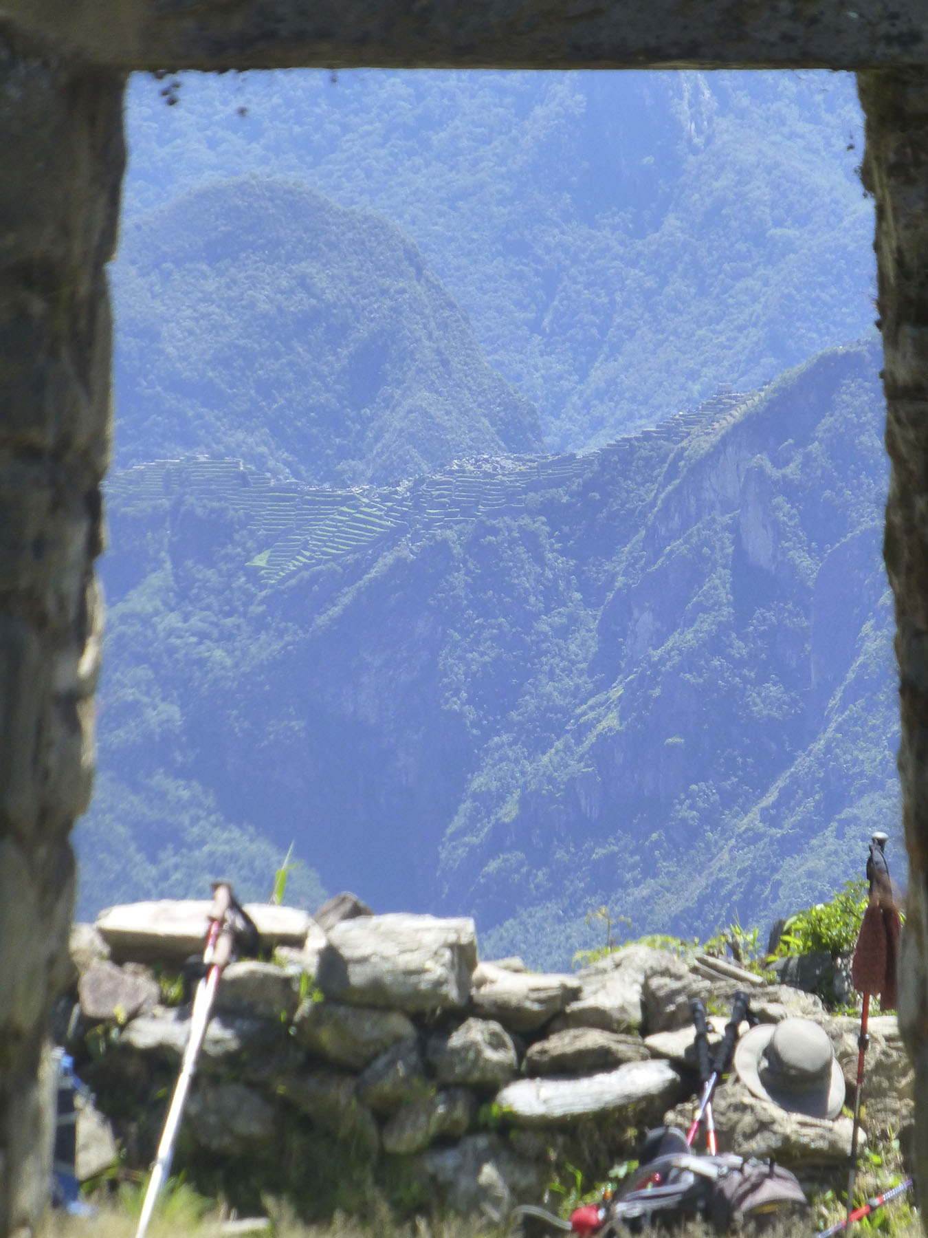 Here, you can see Machu Picchu through the entryway of Llactapata. So close, yet so far away.