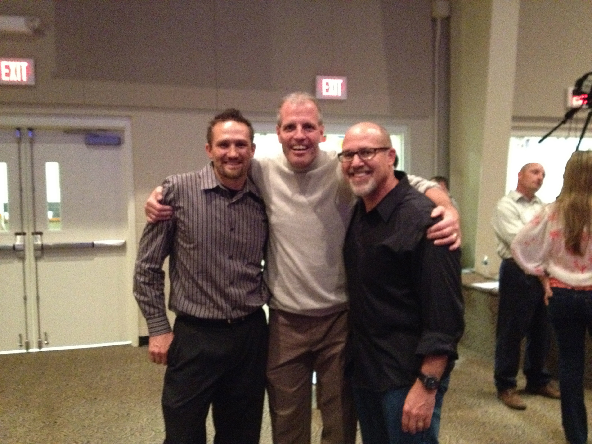 Nate, Michael, and me...the pastor and my good buddy, Jeff Tarbox, was across the room