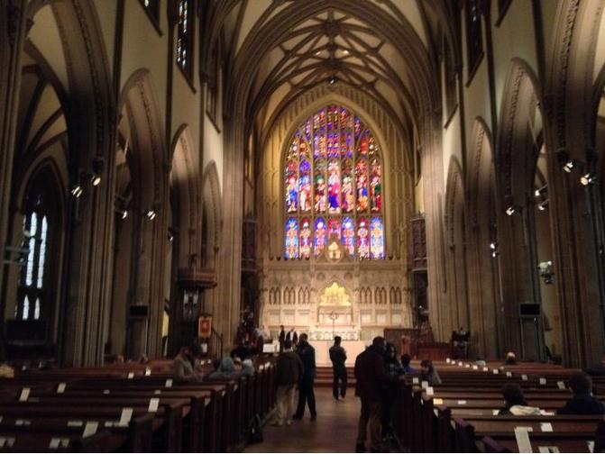 Inside Trinity Church, near Ground Zero.