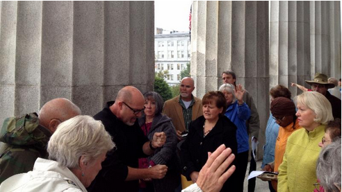 Praying with my heroes at theVermont Statehouse (CapitalWalk)
