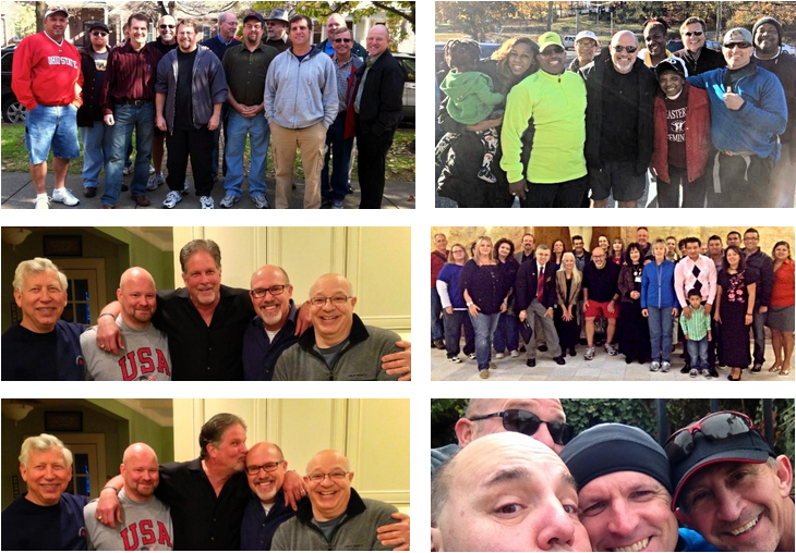 Clockwise from top-left: Our Mid-Ohio Valley family, Bishop Derek and company in Connecticut,Kansas Statehouse, crazy pastors in Rhode Island, and my wise-guy brothers from Jersey.