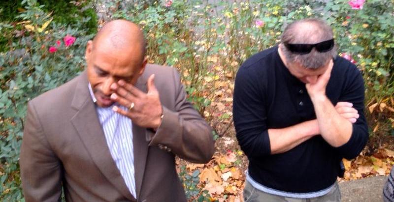 Bishop Ray Motts and Kevin praying in New Rochelle, NY (Boston-NYC Prayerwalk)