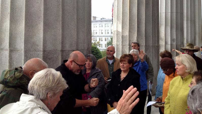 Praying with my heroes at the Vermont Statehouse (CapitalWalk)