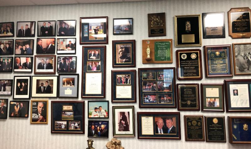 One small section of endless hallways of memorabilia in Congressman Peter King's office, NY