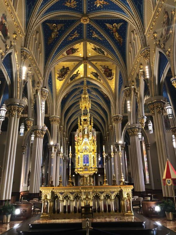 Inside the Basilica at Notre Dame (A thrill for me after years of Catholic School)