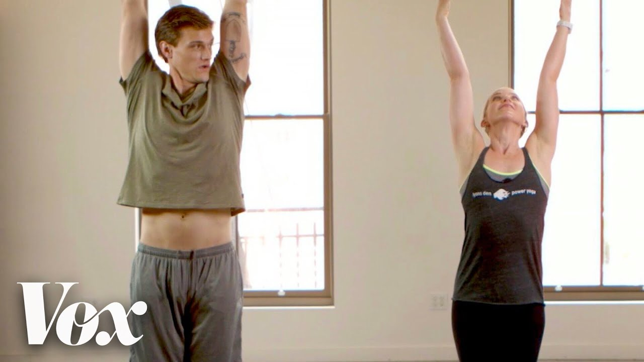 Hartley Sawyer and Bethany Lyons doing yoga at Lyons Den Power Yoga studio in New York City.